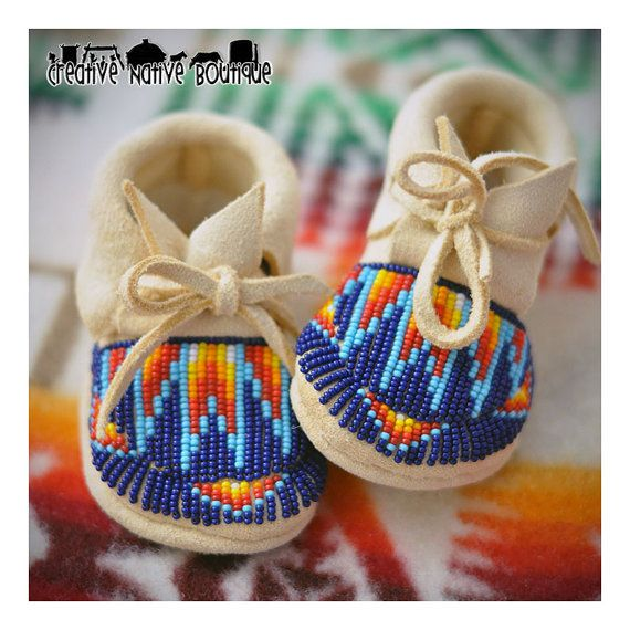 Fully Beaded Baby Moccasins size 1-2 What a great baby shower gift!!! 6897ce1d5a9c