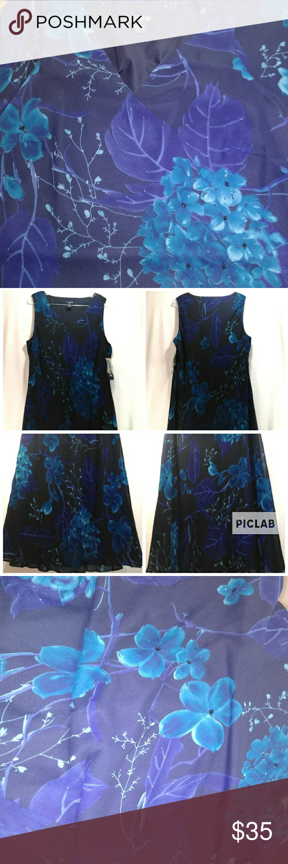 374658385152f Eva Blue plus maxi dress. Size 18 Eva Blue plus maxi dress. Gorgeous floral  print. Very flowy. Comes with extra beads. This is a dark navy dress with a  ...