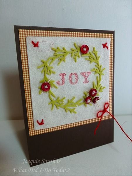 Country felt wreath Christmas card by Jacquie J - Cards and Paper Crafts at Splitcoaststampers