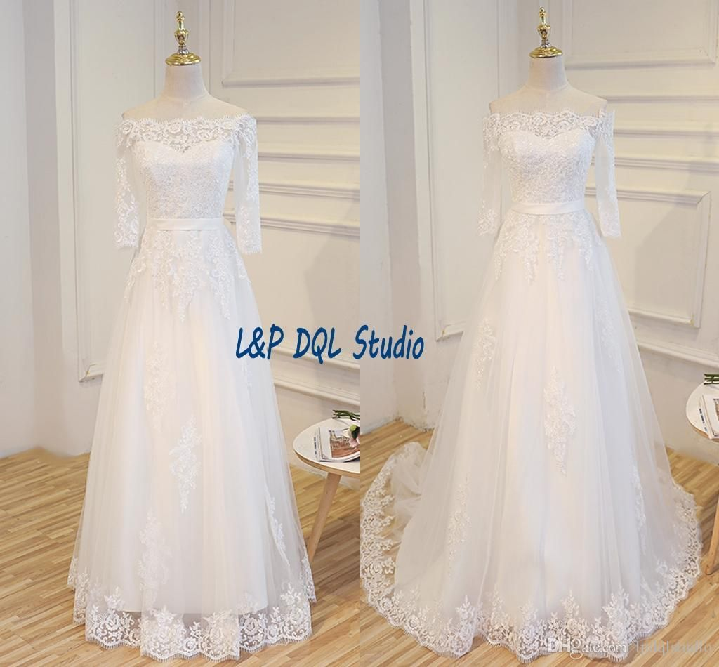 Real Pictures Lace Wedding Dresses Strapless Lace-up Back Floor ...