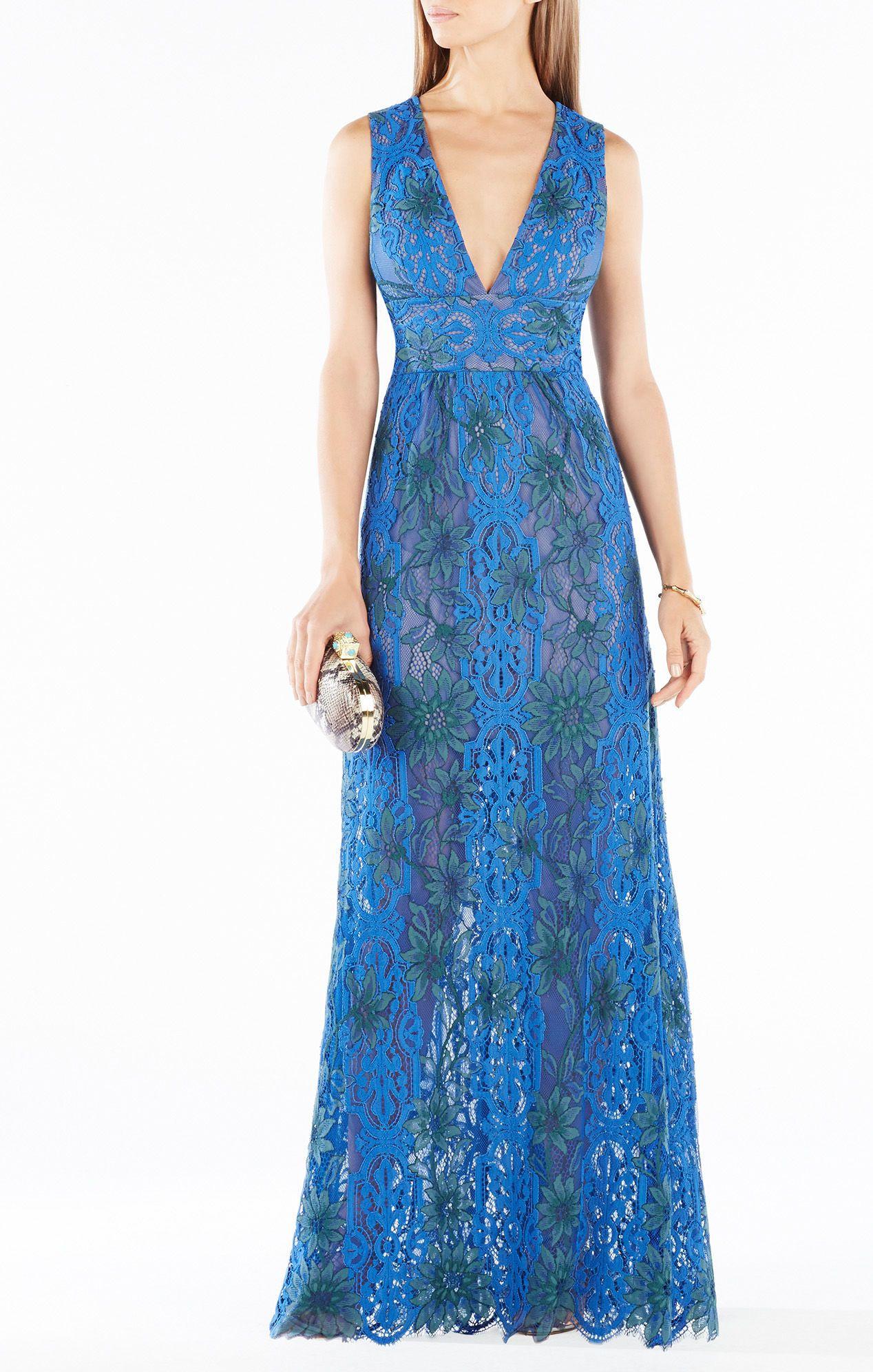 Bcbg yana twotone floral lace gown dresses