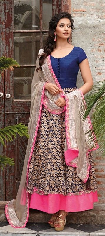 411260: From waist till low hem, let the gold embroidery embellish your figure. choose this anarkali