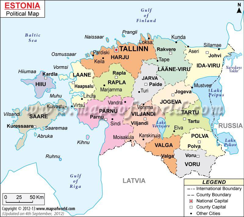 Political map of estonia pinterest political map of estonia gumiabroncs Choice Image