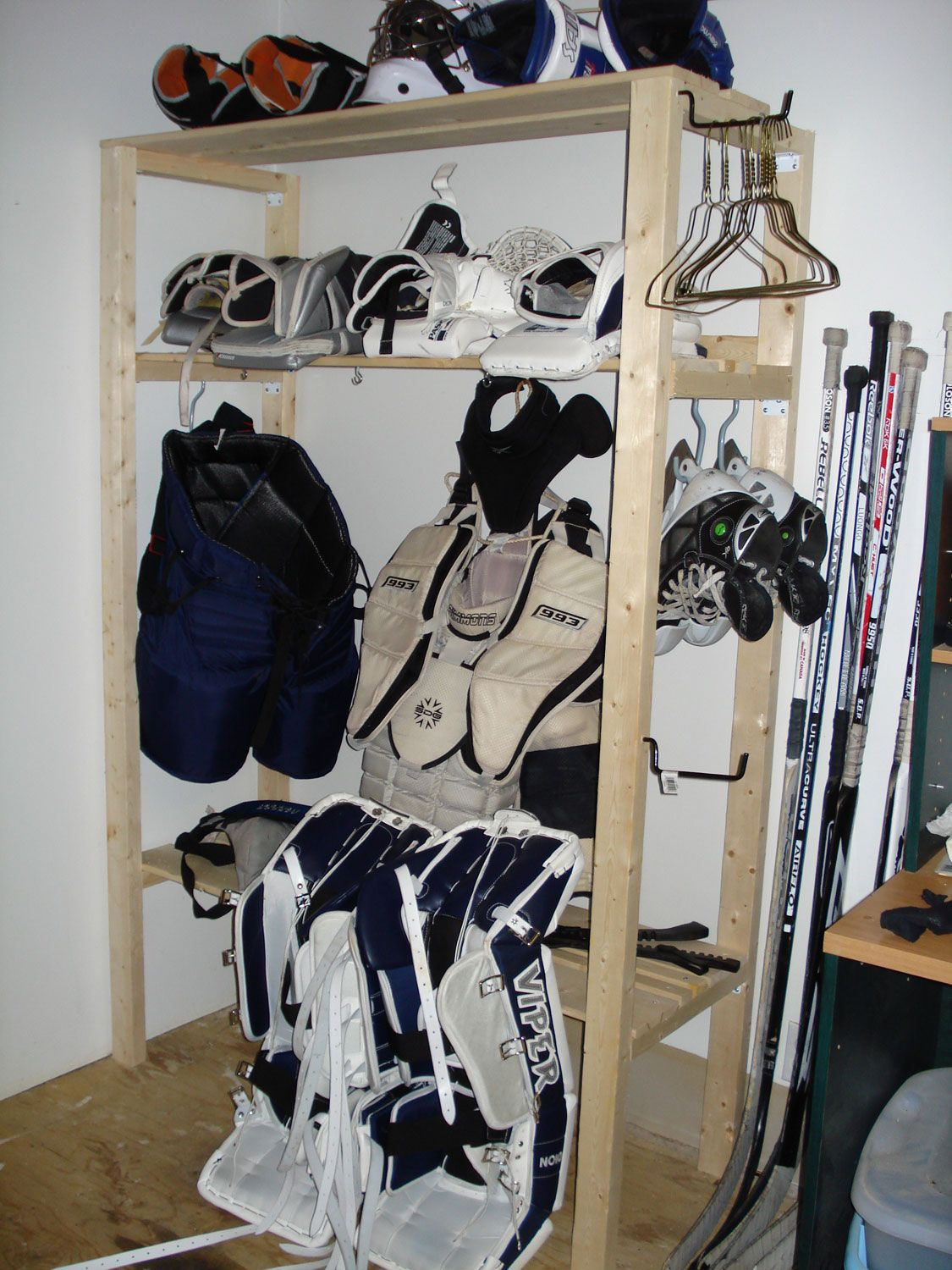 A Great Way To Store And Air Out Equipment Hockey Gear Storage Hockey Gear Hockey Equipment Storage
