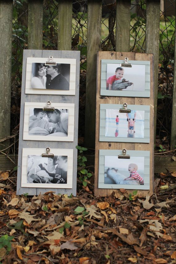 rustic wooden picture frame w clips triple 5x7 collage frame you choose the colors on etsy. Black Bedroom Furniture Sets. Home Design Ideas