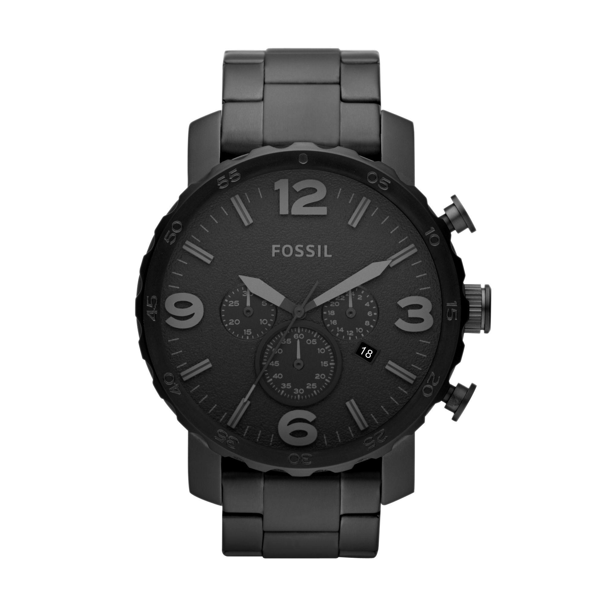 Sportlicher Chronograph in trendigem Schwarz. Die Fossil Nate, Modell JR1401, bekommen Sie bei uns mit persönlicher Gravur. Für ein ganz individuelles Geschenk.