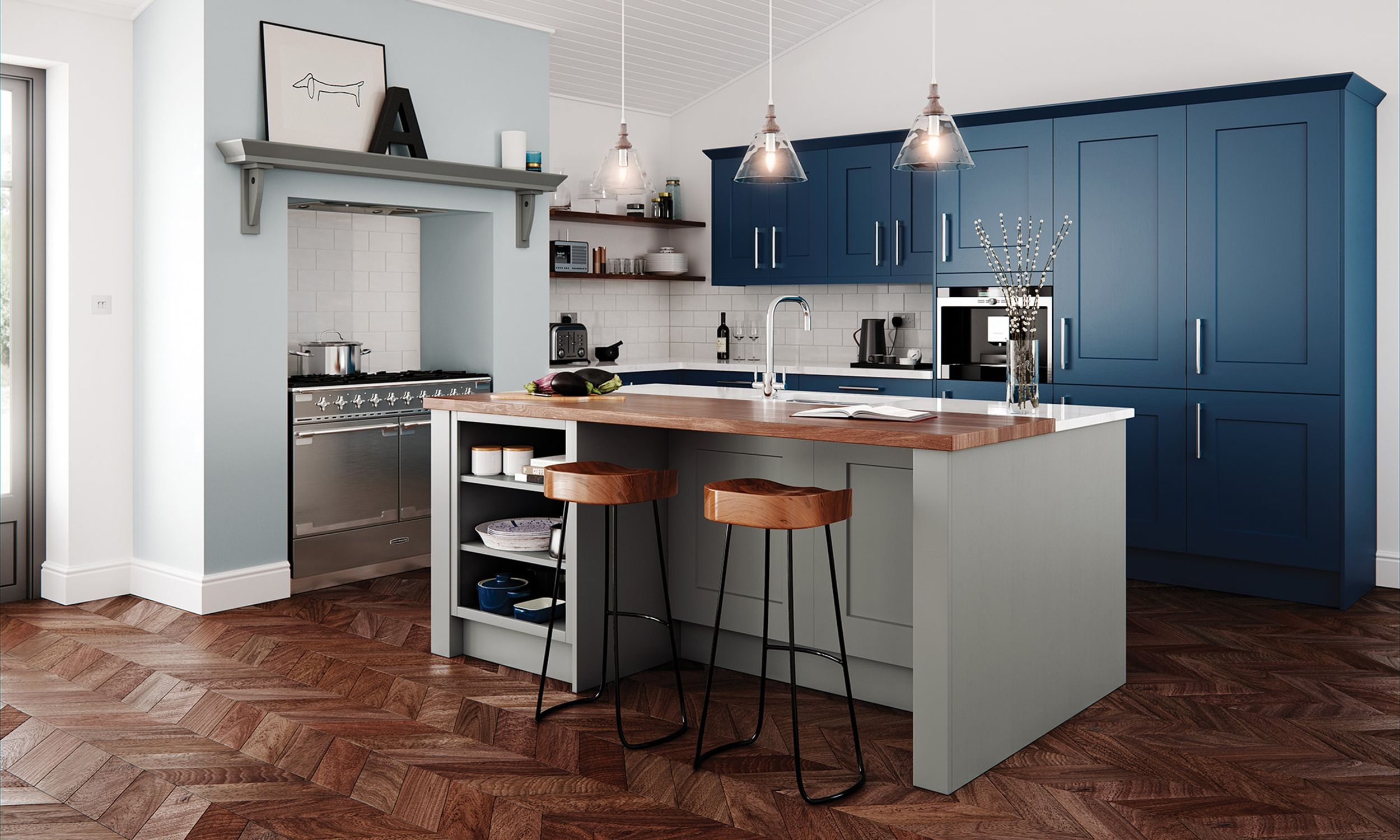 Clonmel Fully Fitted Kitchen Blue kitchens, Freestanding