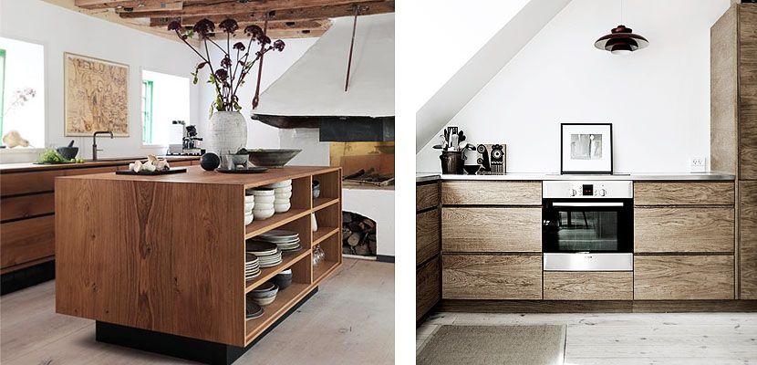 Cocinas contemporáneas con suelos y armarios de madera | Cocina ...