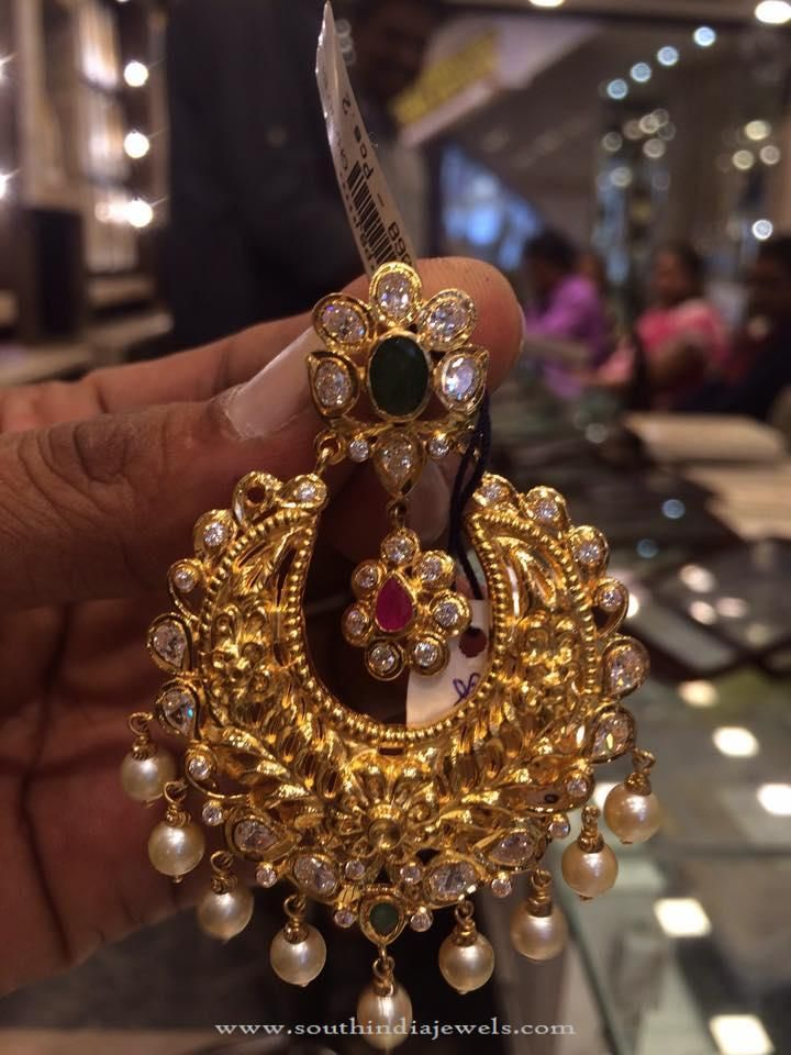 40 Grams Gold Chandbali Earrings Designs Weight In
