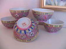 China Porzellan Suppenschüssel  Reis Schalen Florales Dekor handgemalt 6tlg.