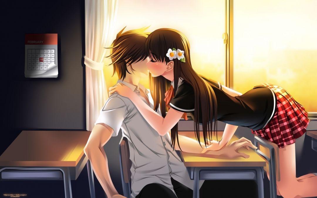 Cute Anime Girl And Boy Kissing Desktop Hd Wallpaper Download