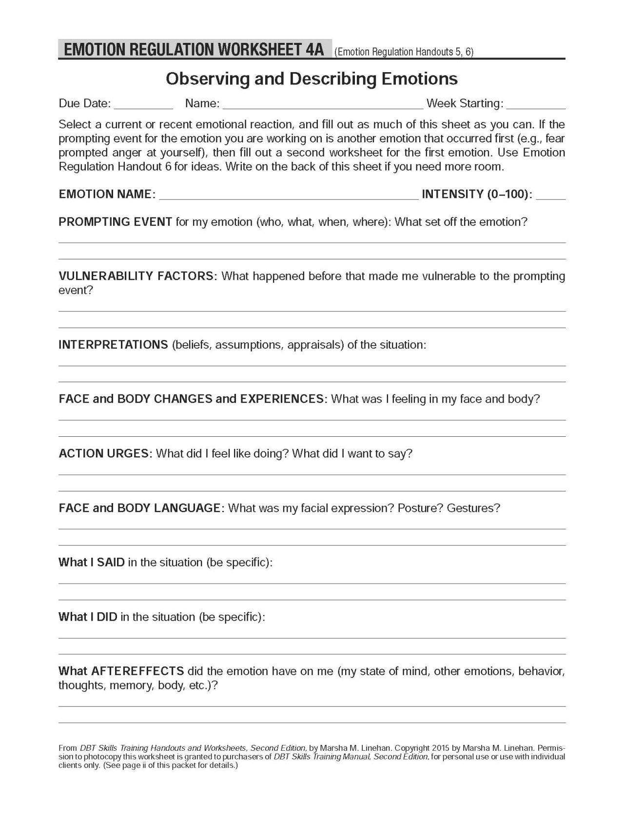 Worksheets Self Help Worksheets dbt self help resources observing and describing emotions these worksheets accompany the emotion regulation