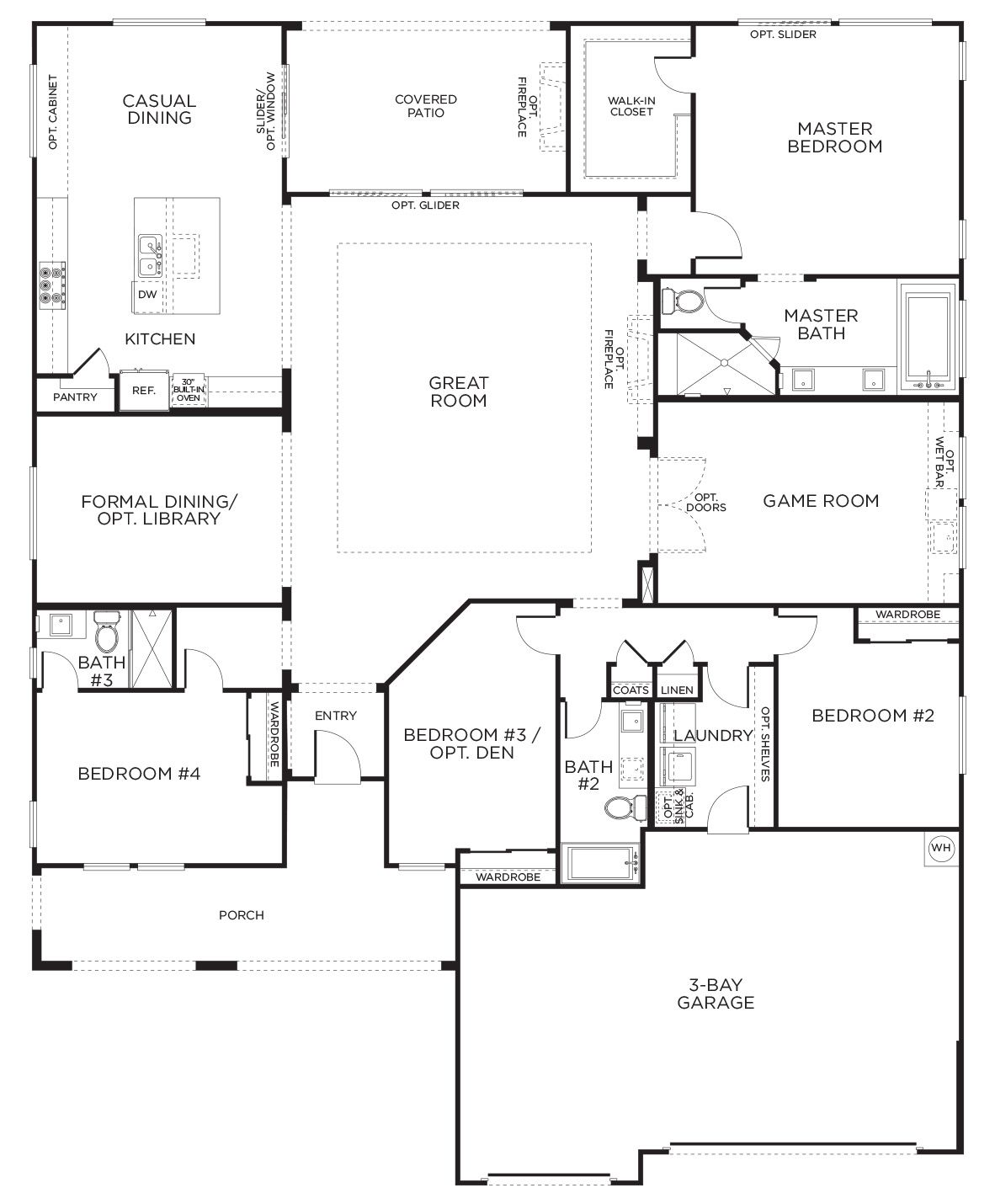 Love this layout with extra rooms single story floor for Single story floor plans with 3 car garage