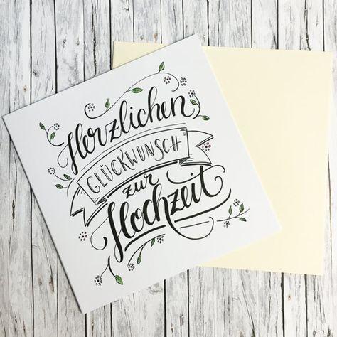 Herzlichen Gluckwunsch Zur Hochzeit Handlettering Grusskarte Typo Herzlichen Gluckwunsch Zur Hochzeit Gluckwunsche Hochzeit Hochzeit Gluckwunsch Spruch