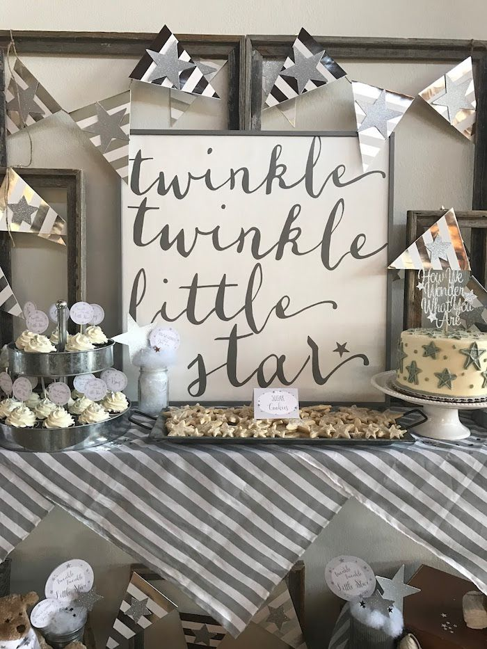 Rustic Twinkle Star Gender Reveal Baby Shower Kara S Party Ideas Twinkle Twinkle Baby Shower Gender Neutral Baby Shower Baby Boy Shower