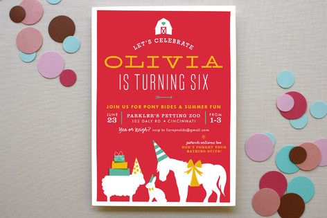 Farm Party Childrenu0027s Birthday Party Invitations by Carrie ONeal at - fresh birthday party invitation designs