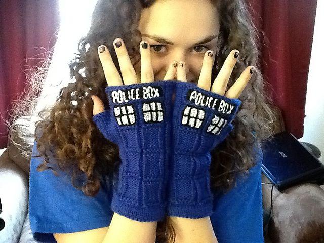 Ravelry: TARDIS Fingerless Gloves pattern by honest puck