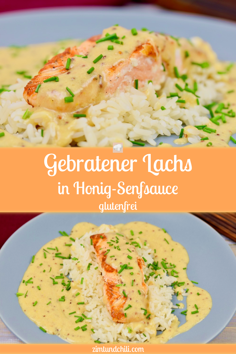 Gebratener Lachs in Honig-Senfsauce - Zimt & Chili #cleaneating