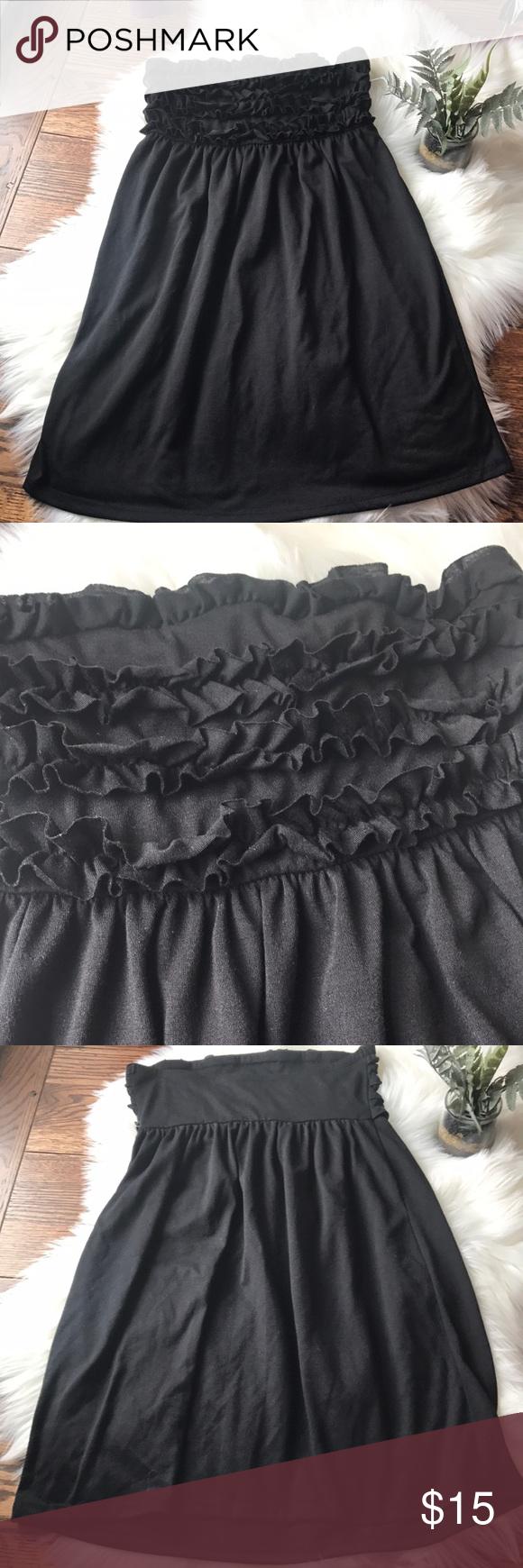 f86ac85f3d OP BLACK STRAPLESS RUFFLED TOP SWIMSUIT COVERUP-M This OP black strapless  ruffled top swimsuit