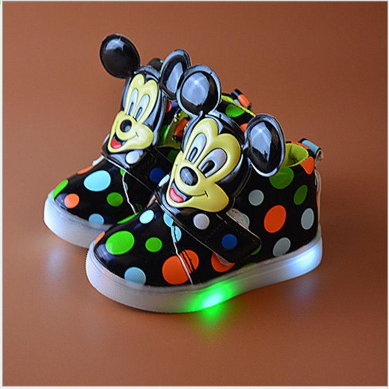 ... कार्टून मिकी लड़कियों Tenis स्नीकर्स बच्चों जूते जूता सोल चमकदार  स्किडप्रूफ chaussure enfa 21182086fc15