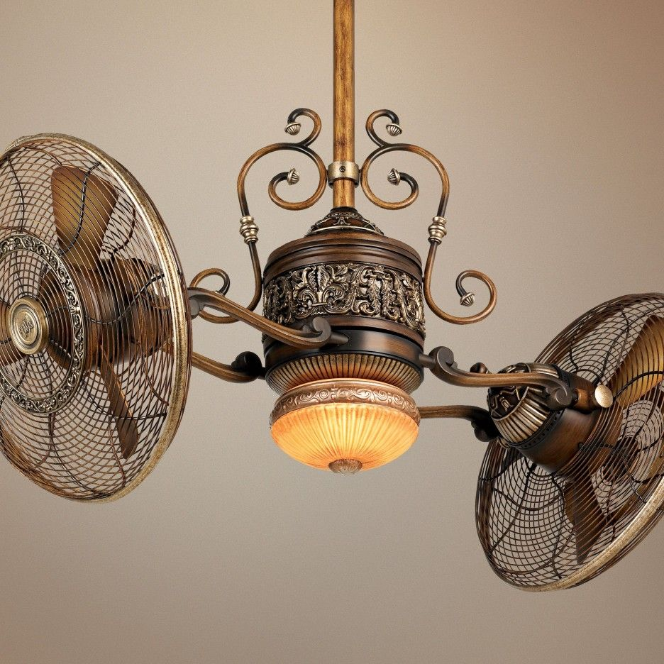 Ceiling Fans Traditional Adjustable 2 Heads Ceiling Fan In