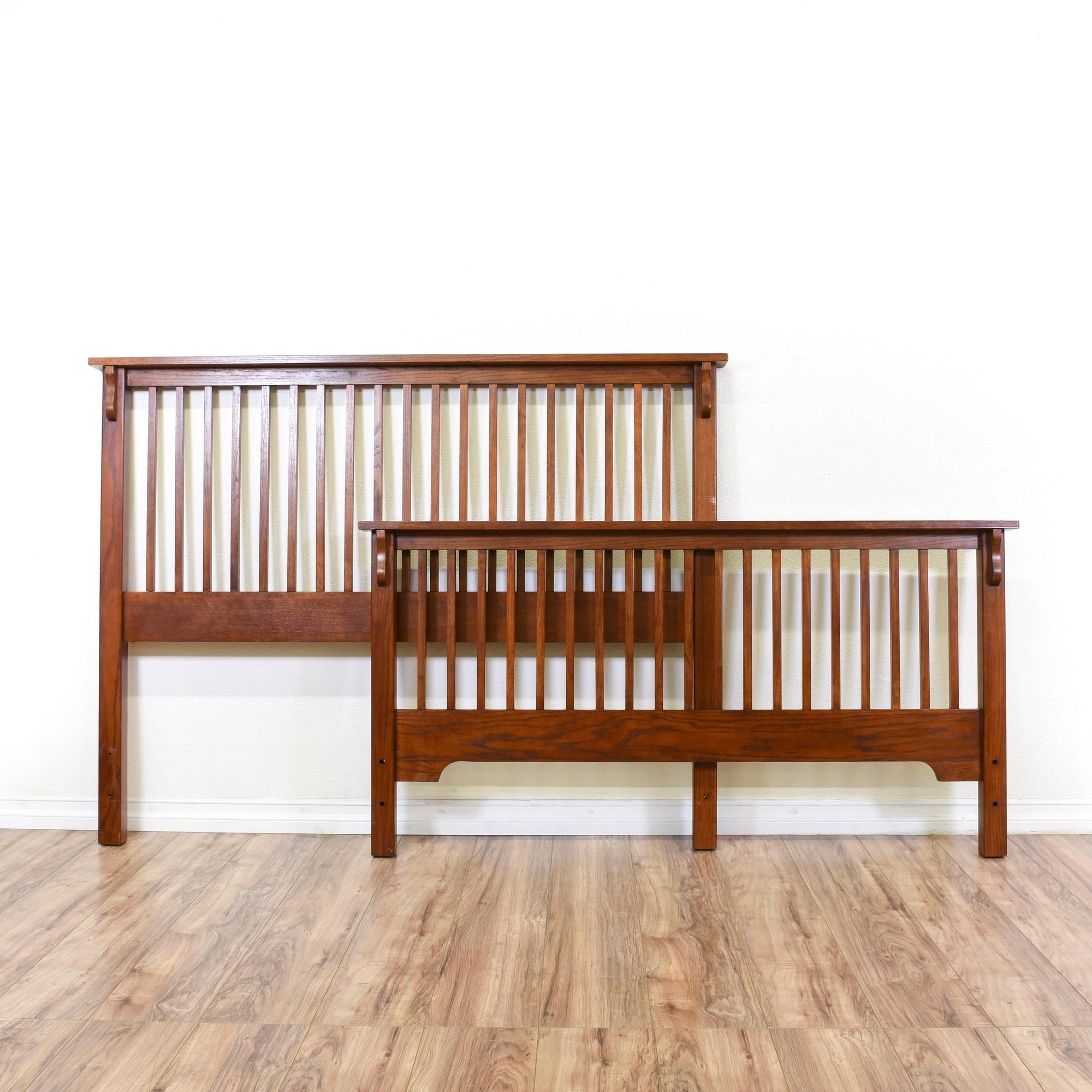 This Mission Style Bedframe Is Featured In A Solid Wood With Golden Oak Finish Vintage Headboard And Footboard Set Has Clic Slat Design