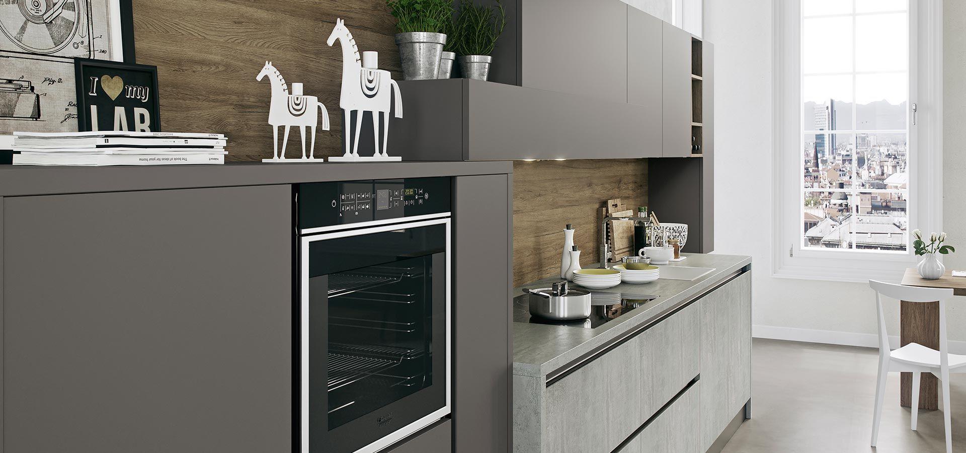cucina moderna kal finitura cementho e maxximatt lavagna piano in laminato cementho maniglia
