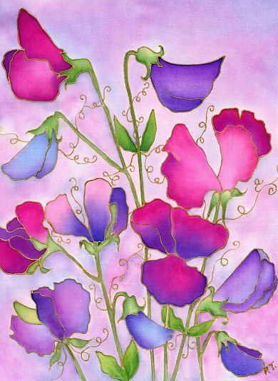 Sweet peas silk silk painting and paintings artwork paintings watercolor flowers pauline townsend silk painter mightylinksfo