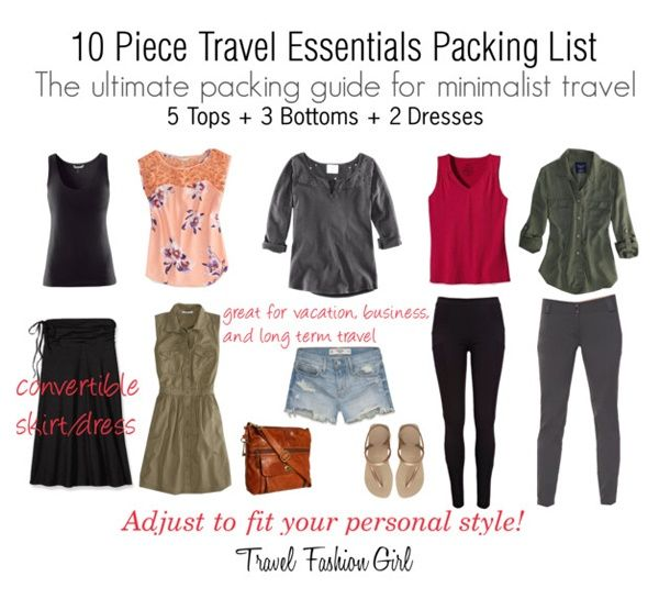 Mastering The 10 Piece Travel Wardrobe I D Exchange The Black For A Different Color And T Travel Fashion Girl Travel Capsule Wardrobe Packing Essentials List