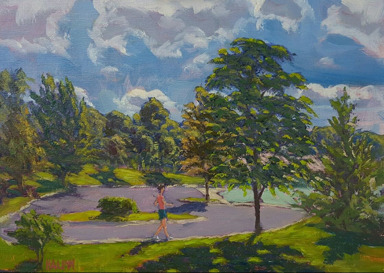"Walk,oils on canvas panel,12""x16"", original,signed,plein"