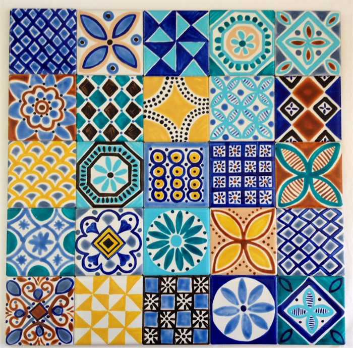 Moroccan Inspired Hand Painted Ceramic Tiles for