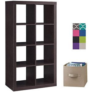 Better Homes and Gardens 8-Cube Organizer with 8 Collapsible Fabric Storage Cubes, Mix and Match Colors