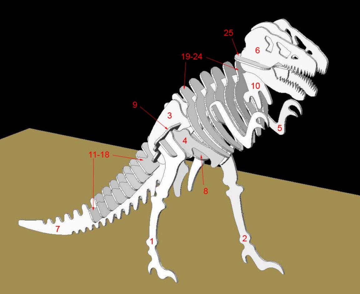 Plantillas Para Formar El Esqueleto De Un Dinosaurio 3D