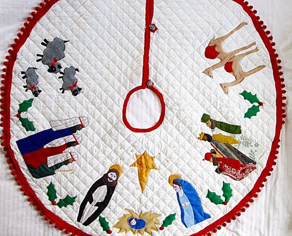Nativity Christmas Tree Skirt Handmade Appliqued by Meoneil