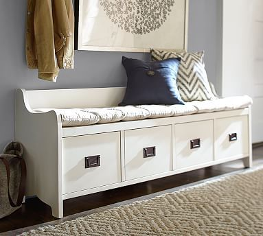 Wade Entryway Bench Small Almond White Wood Entryway