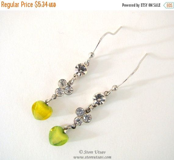 20% OFF SALE Earrings Handmade Fashion Dangles with Heart Shaped Moss Green Mineral Bead and Zircon Crystals on German Silver Metal-Indian H