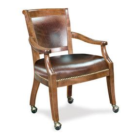 Poker Chairs With Casters Sand Beach Custom Leather Eastgate By Thos Baker