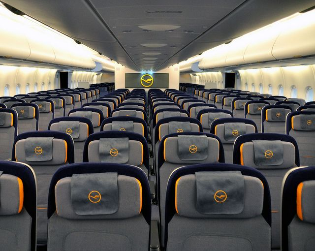 The brand new lufthansa airbus a380 economy class cabin for Airbus a380 interior
