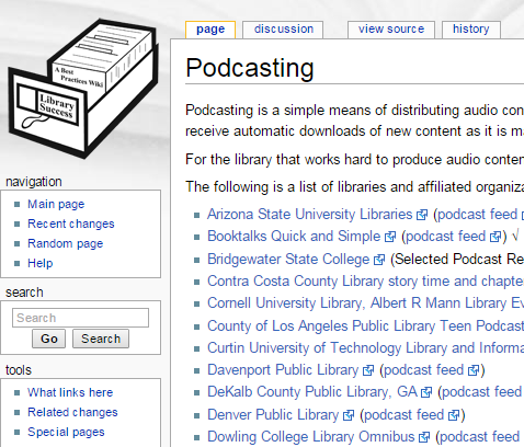 Library Sucess Wiki on podcasts