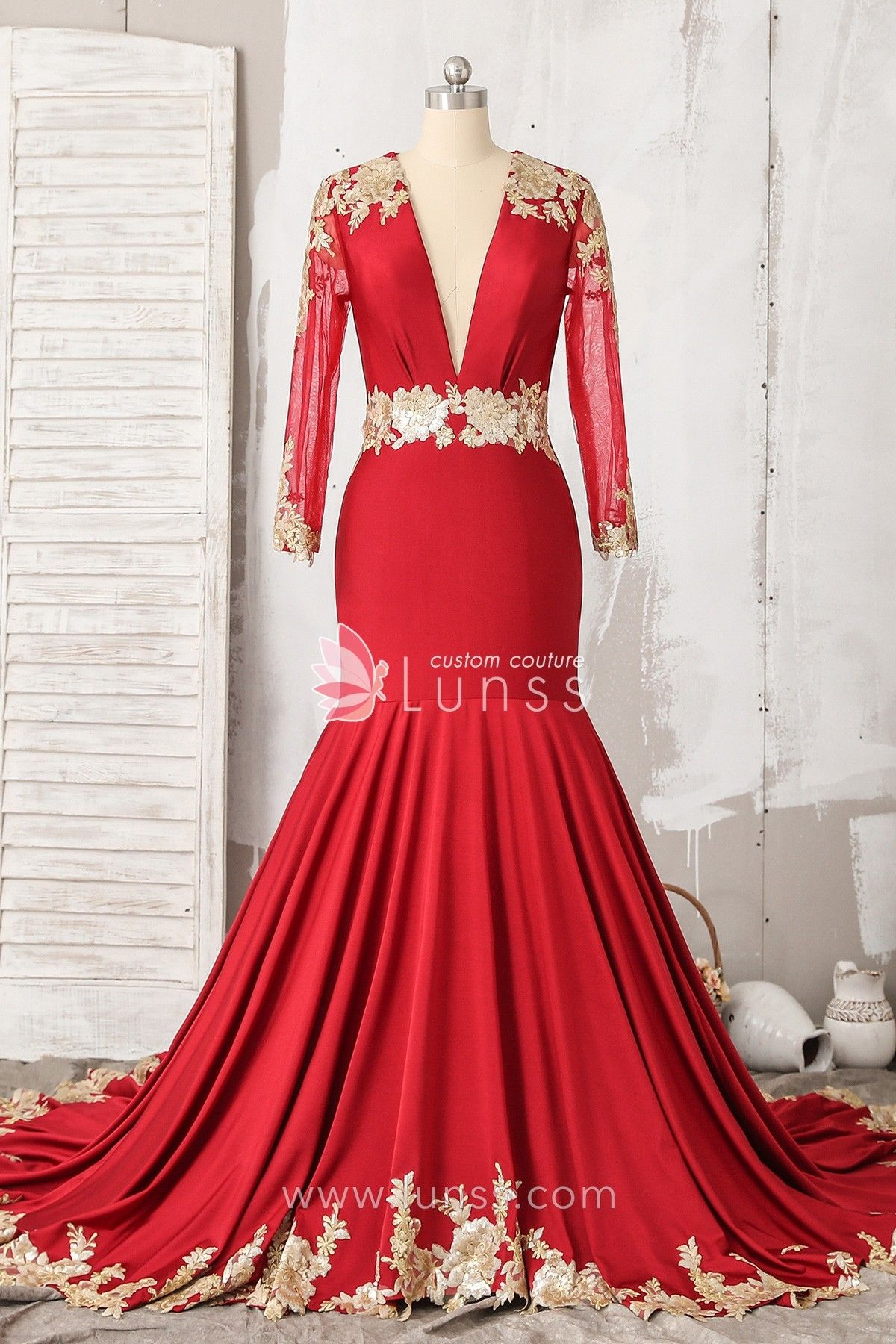 Red long sleeve plunging jersey mermaid prom dress with open back