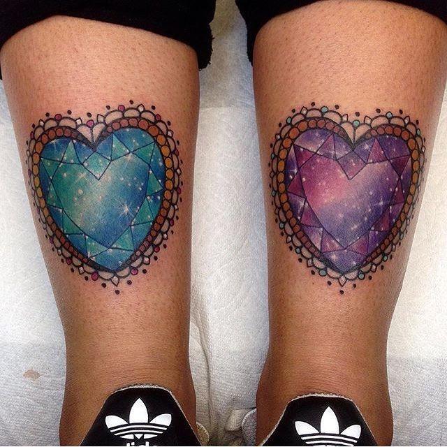 Matching Heart Gem Stones Tattoo