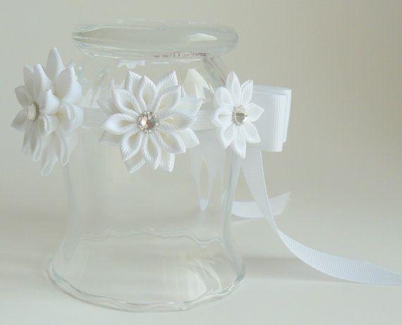 Kanzashi canas Bun abrigo. Abrigo de Bun de la corona de flor. Flor blanca Bun Bun de Wrap.Flower. Casco de ballet. Corona Floral ballet