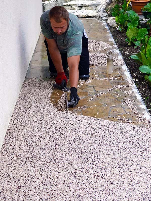 Granulat De Marbre Pour Une Terrasse En Resine Toutes Les Etapes Revetement Sol Exterieur Terrasse Resine Revetement Terrasse