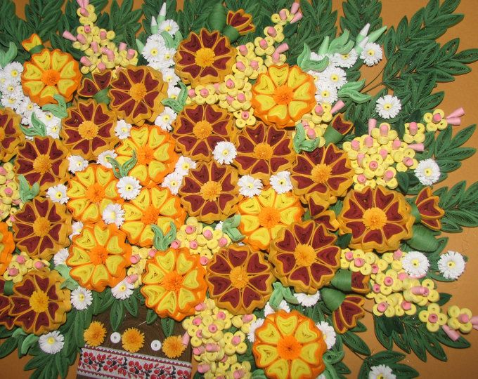 Quilling art 3D wall art picture Marigolds Quilling handmade Paper ...