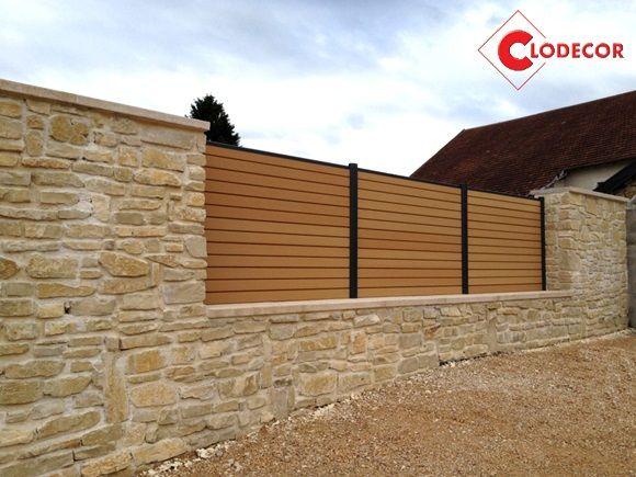 Oc wood cl ture composite bor ale havane sur mur en pierre cr dits clodecor cl tures - Cloture composite sur muret ...