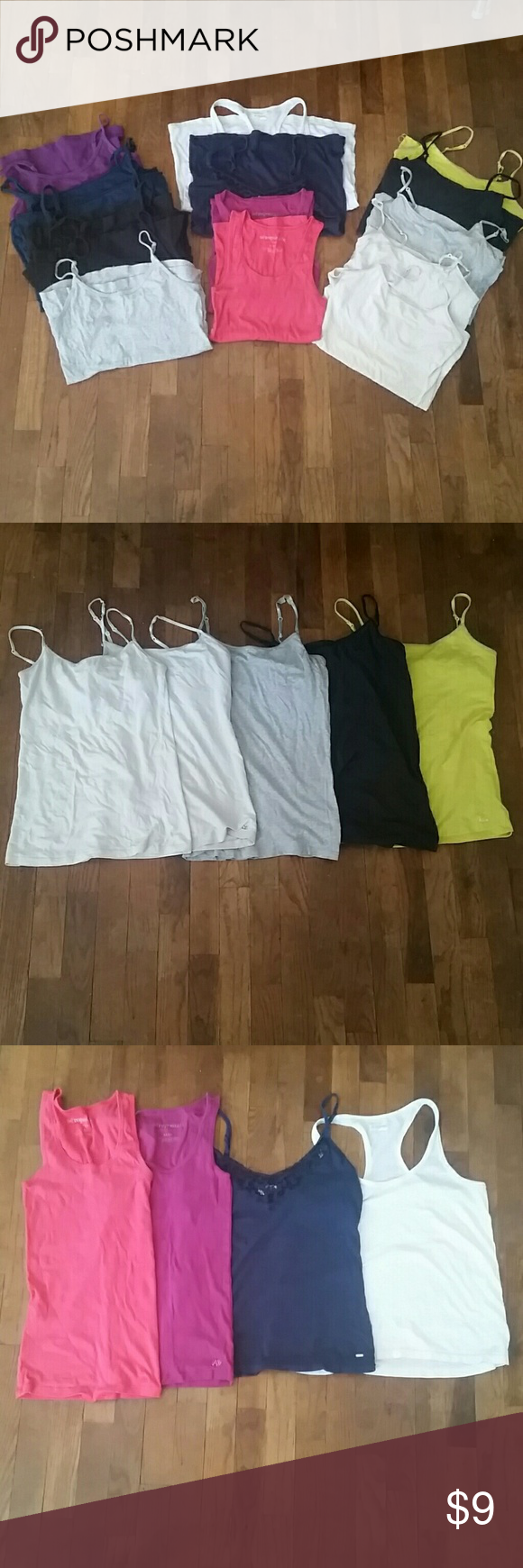 Lot of 16 camis Here's a bang for your buck, 16 camis for the price of $9! Can't beat that! All have been preloved and some look quite worn, whether that be a loose seam on the bottom, an untwisted strap, or a discoloration from washing. In the picture with the 5 camis, those are Aeropostale shelf camis the two white ones are mediums and the other 3 are larges. In the picture with the 4 tanks those are just various cuts of Aeropostale tanks in size medium. In the last picture those are all…
