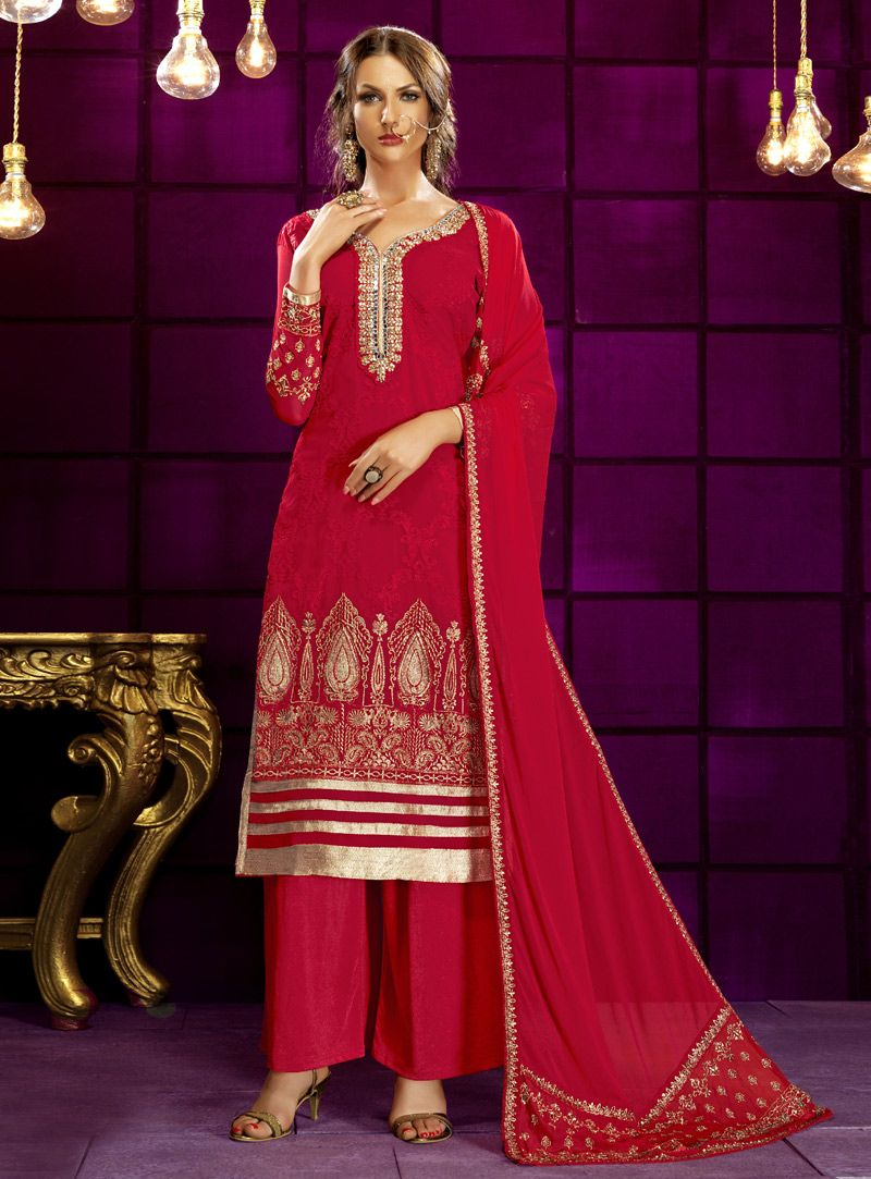 Dark pink georgette palazzo style suit bollywood dresses