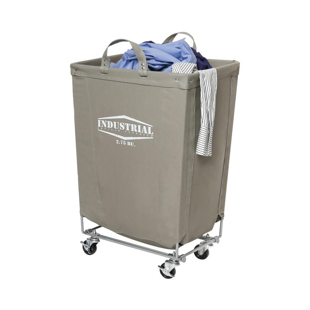 Seville Classics Gray Commercial Canvas Laundry Hamper Cart With