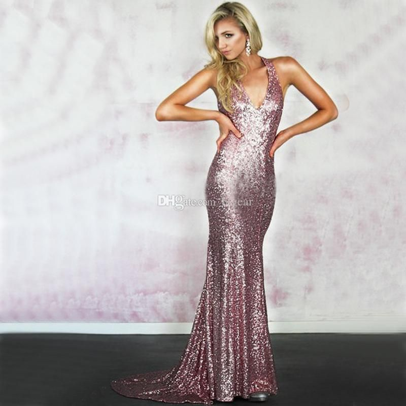 V Neck Long Sequin Prom Dress With Strappy Back Formal Occasion