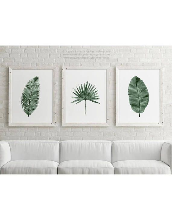 Canvas Palm Leaf Illustration, set 3 Art Prints Green Botanical ...